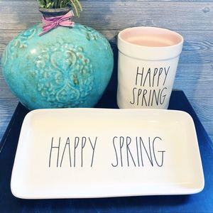 "Rae Dunn ""HAPPY SPRING"" platter/crock set NEW"